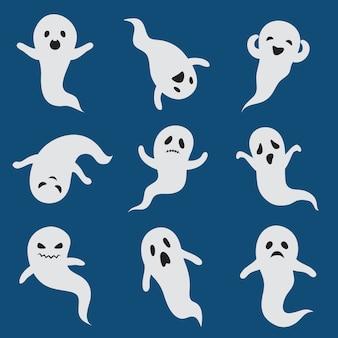 Fantasmas de miedo. lindo fantasma de halloween. silueta blanca vector boohoo personajes fantasmales aislados
