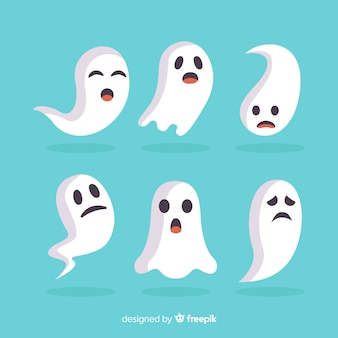 Fantasmas planos de halloween haciendo caras divertidas
