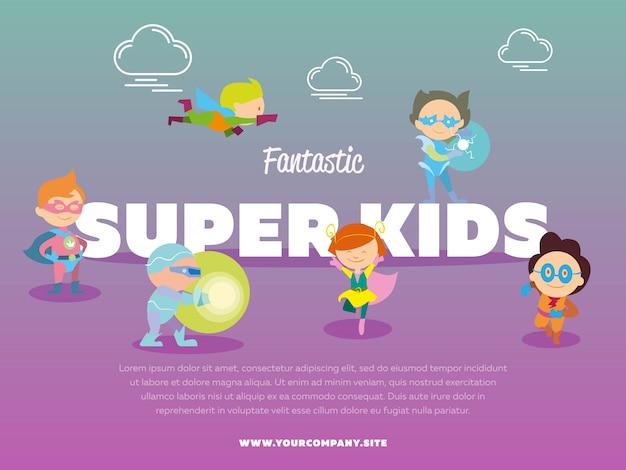 Fantástica plantilla de super niños con niños