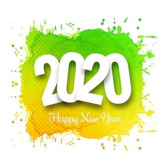 Fantástica plantilla de tarjeta de celebración de año nuevo 2020