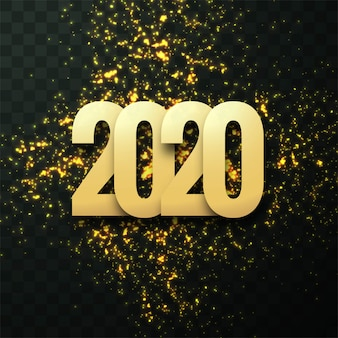 Fantástica plantilla de tarjeta de felicitación de celebración de texto de año nuevo 2020