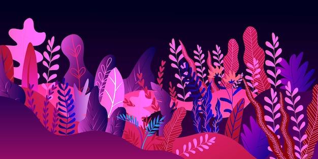 Fantásticas hojas de colores sobre fondo negro, patrón de naturaleza de verano, tropical, ilustración. papel pintado textil colorido de moda brillante, palmera de estilo exótico.