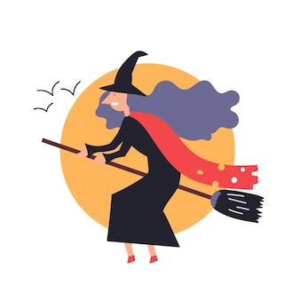 Fantástico personaje bruja vuela sentado palo de escoba cuentos de hadas halloween Vector Premium