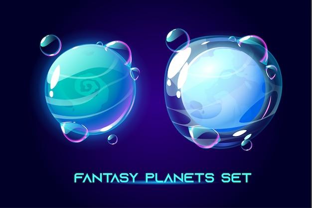 Fantásticos planetas espaciales para el juego ui galaxy