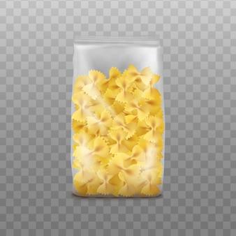 Farfalle paquete de pasta en una bolsa de plástico transparente - realista aislado. plantilla de diseño de envases de comida italiana, ilustración vectorial.
