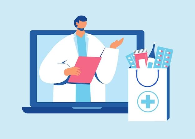 El farmacéutico ayuda a recoger un pedido en el sitio.