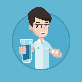 Farmacéutico dando pastillas y vaso de agua.