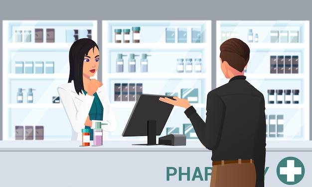 Farmacéutico de dibujos animados y cliente en el mostrador comprando medicamentos en farmacia