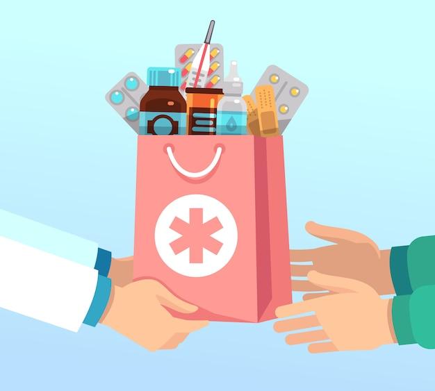El farmacéutico entrega la bolsa con antibióticos de acuerdo con la receta a las manos del paciente. concepto de vector de farmacia