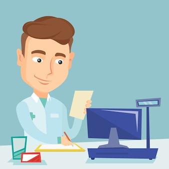 Farmacéutico escribiendo prescripción.