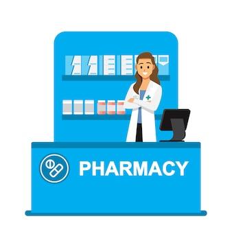 Farmacéutico, farmacia, farmacéuticos están listos para dar consejos sobre el uso de drogas.