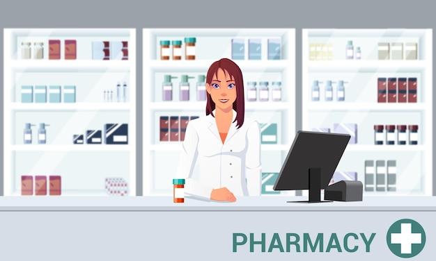 Farmacéutico frente al estante en una ilustración de dibujos animados plana de farmacia