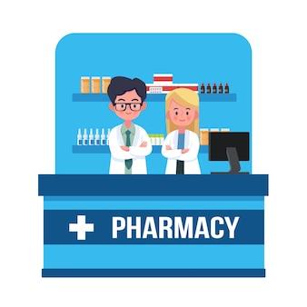 Farmacéutico hombre y mujer en farmacia. ilustración vectorial concepto de farmacia, diseño de estilo plano de dibujos animados, medicina, salud