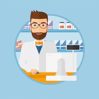 Farmacéutico en mostrador con caja de efectivo.