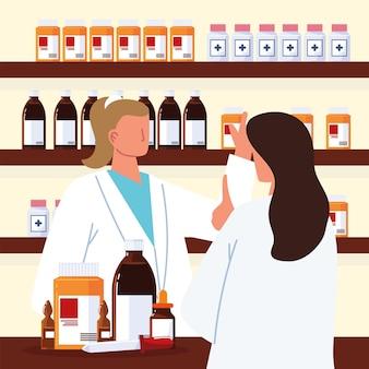 Farmacéutico y paciente en la farmacia.