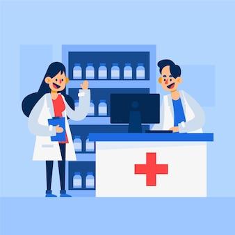 Farmacéutico personas haciendo su trabajo