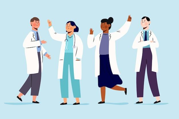 Farmacéutico personas de pie y animando