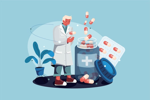 Farmacéutico de pie con el concepto de ilustración de drogas