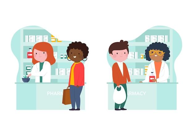 Farmacéuticos y clientes en la farmacia.
