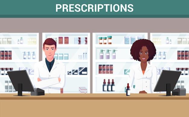 Farmacéuticos masculinos y femeninos de pie frente al mostrador de farmacia vector premium
