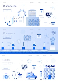 Farmacia diagnóstico hospital conjunto plantillas de banner