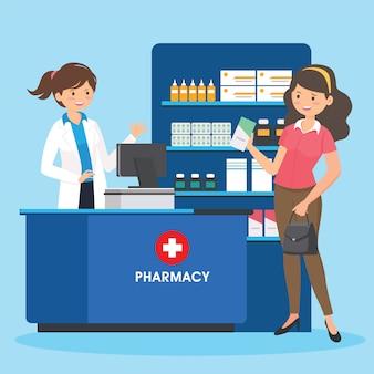 Farmacia con enfermera en mostrador