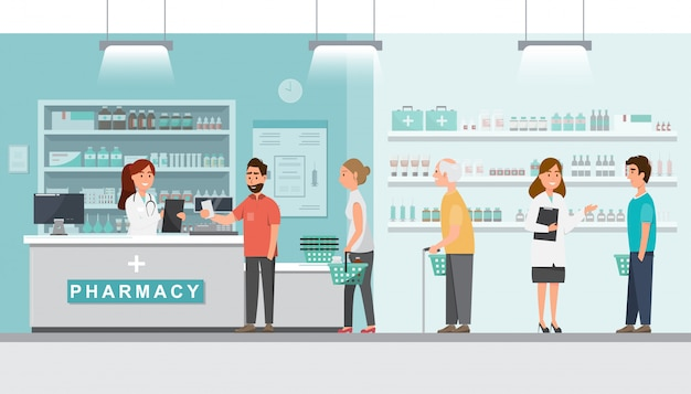 Farmacia con farmacéutico y cliente en mostrador.