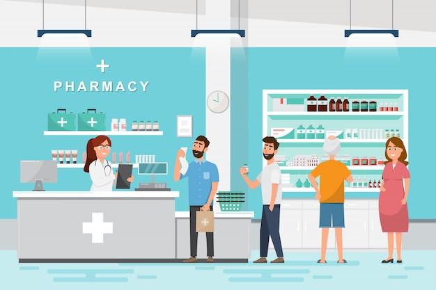 Farmacia con farmacéutico y cliente en mostrador