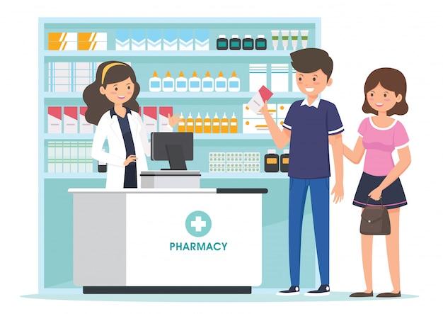 Farmacia con farmacéutico en mostrador