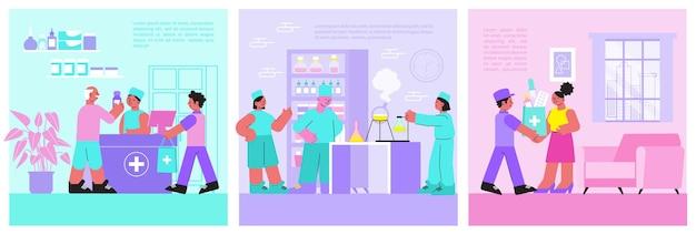Farmacia ilustración medicina plana