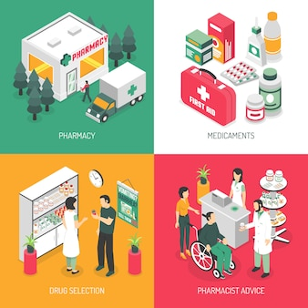 Farmacia isométrica iconos cuadrados