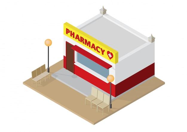 Farmacia isométrica o farmacia.