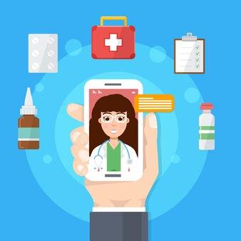 Farmacia, médico consulta médica en línea, servicio de salud en internet. ilustración.