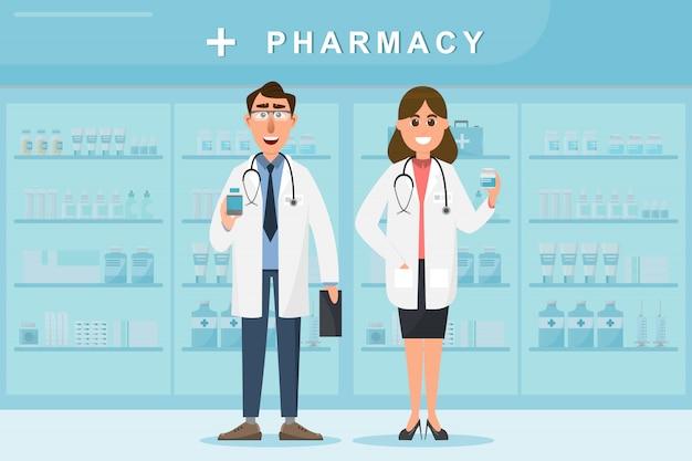 Farmacia con médico y enfermera en mostrador.