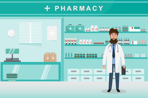 Farmacia con médico en mostrador.
