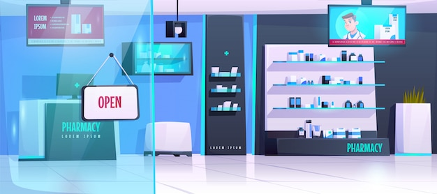 Farmacia con productos médicos