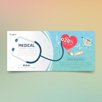Farmacia de suministros de banner creativo