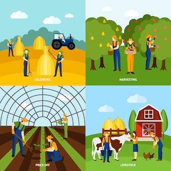 Farming 4 iconos planos cuadrados poster