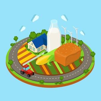 Farming road campos tractor estación de energía eólica de leche cielo con nubes en el fondo