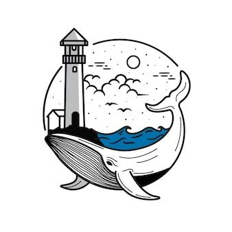 Faro y ballena de arte lineal, paisaje de línea plana, línea de ballena y océano