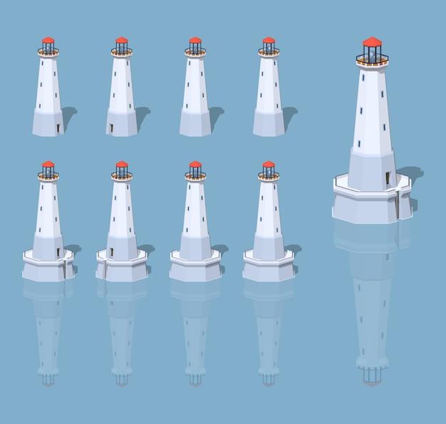 Faro blanco ilustración de vector isométrica 3d lowpoly.