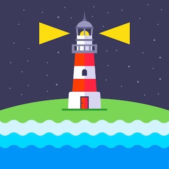Un faro brilla por la noche para guiar a los barcos. ilustración plana