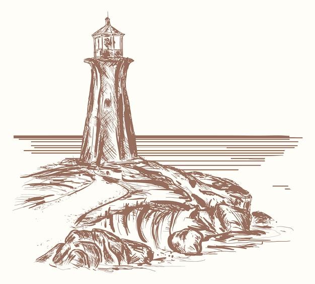 Faro en la costa rocosa del mar