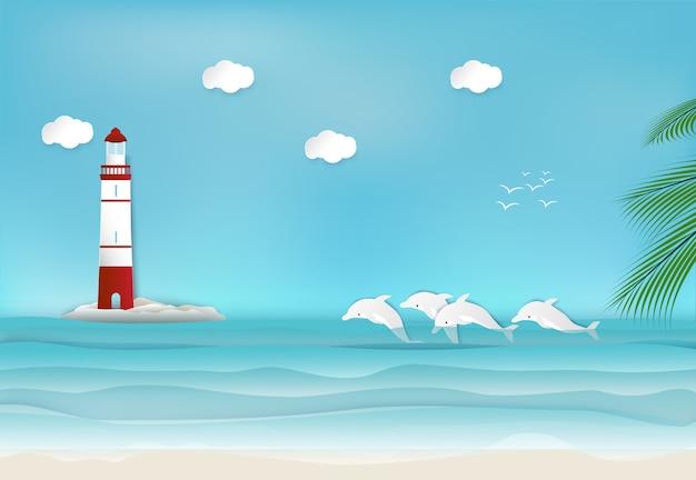 Faro y delfín en el mar.