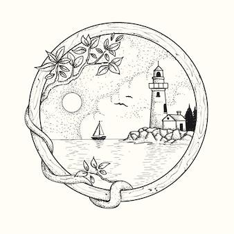 Faro dibujado a mano