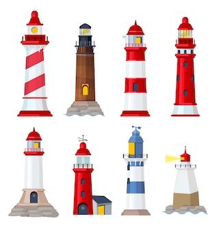 Faro de dibujos animados. edificio de seguridad portuaria oceánica o marítima
