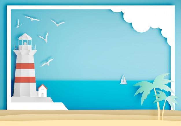 Faro con estilo del arte del papel del marco del fondo del océano