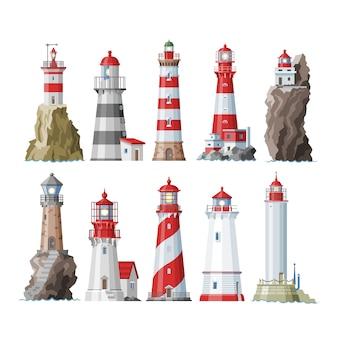 Faro faro encendedor radiante camino de iluminación a ses de costa costera ilustración conjunto de faros sobre fondo blanco