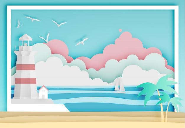 Faro con la ilustración del vector del estilo del arte del papel del marco del fondo del océano