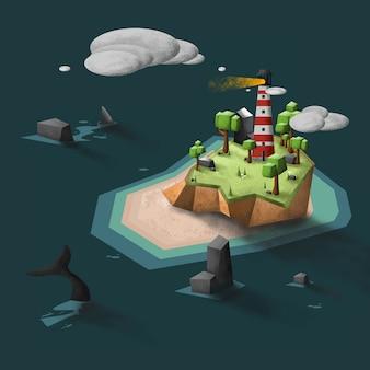 Faro en la ilustración de vector de isla